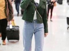 马苏衣服品味果然厉害!绿色外套搭配牛仔裤简约清爽,美出新高度