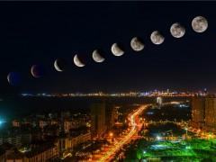"""""""超级月亮+月全食""""组团现身海口西海岸"""
